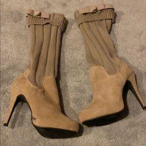 Cream sweater boots